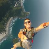Jump over Barra de Ibiraquera Beach