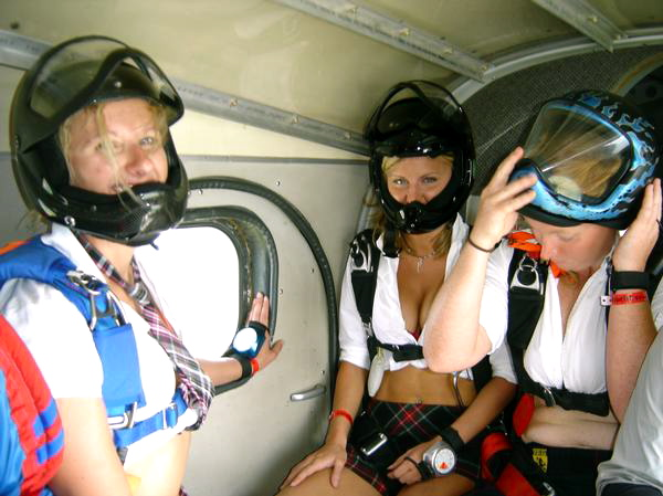 school girls in the plane