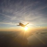 flying over Qualicum Beach Skydive Vancouver island.
