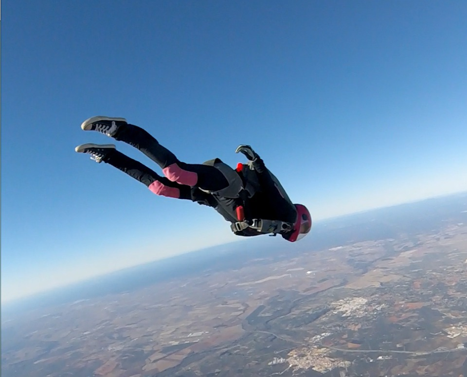 Head down at sunny Skydive Spain, in Seville.