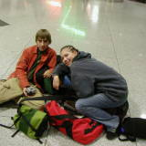 Amanda and Josh at DIA on the way to CA in 2004