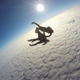 Jumping in Seville over the clouds
