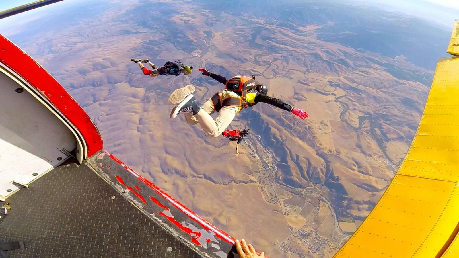 Micah, Sebastian, and Julien exit at Skydive Hollister