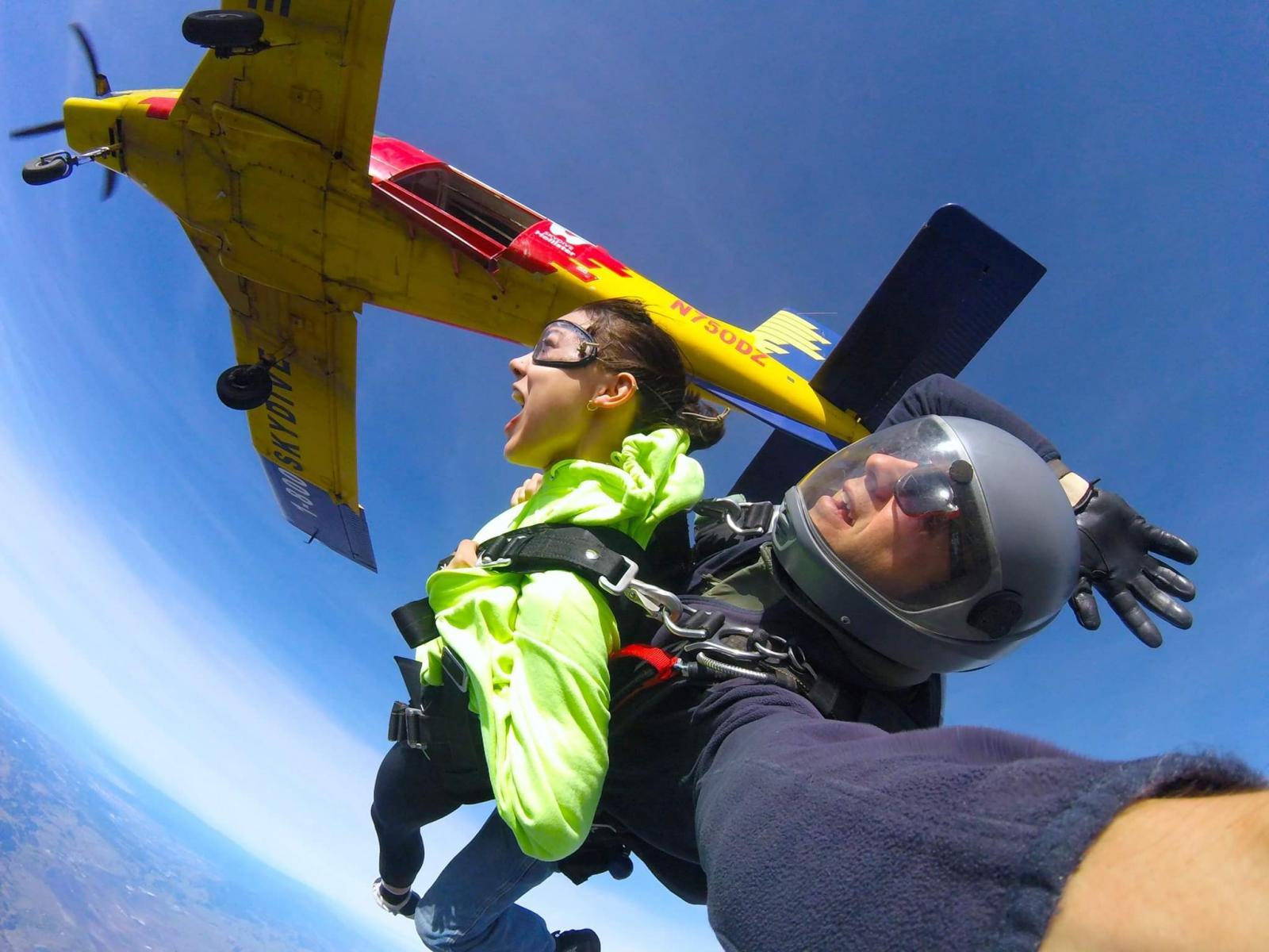 Tandem skydiving exit at Skydive Hollister California