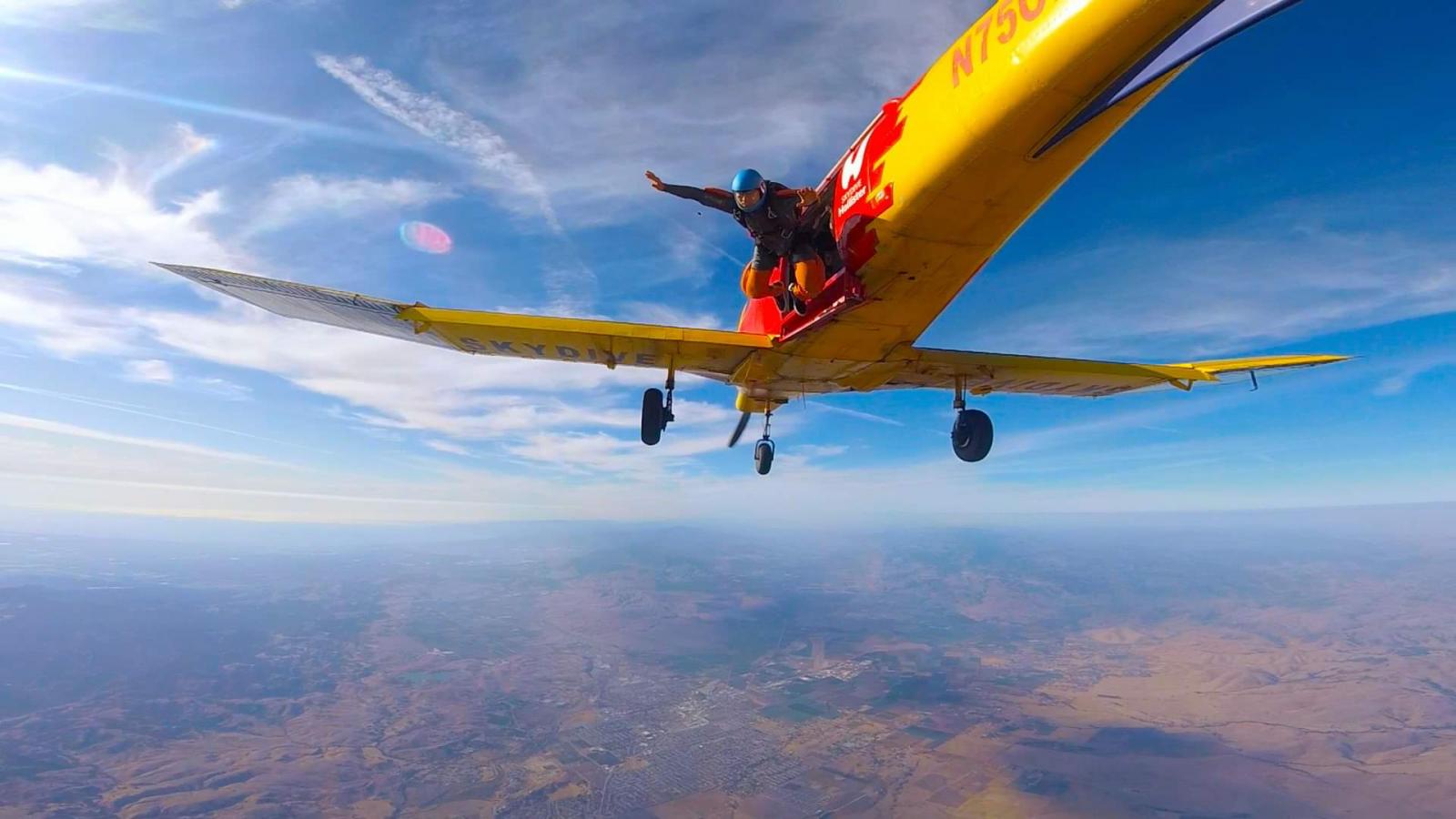 Esteve exits the PAC 750Xl at Skydive Hollister